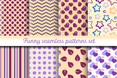 Funny seamless patterns set