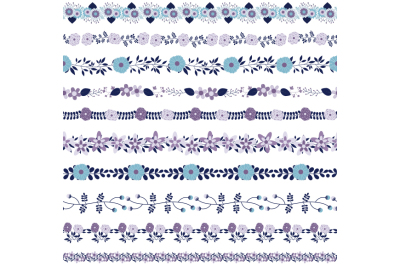 Violet blue flower border clipart, Floral border clip art divider