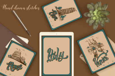 Italy. Venice. Pisa. Rome. Sketches and lettering.