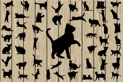 50 Cat SVG, Cat Silhouette Clipart, Cat Vector, Kitten, Vinyl.