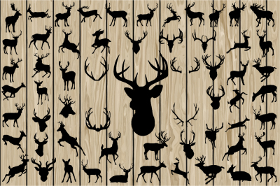 60 Deer SVG, Deer Vector, Deer Silhouette Clipart, Cutting file.