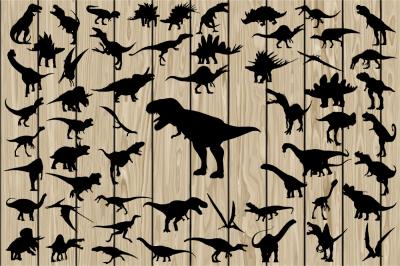 57 Dinosaur SVG, Dinosaur Vector, Dinosaur Silhouette Clipart, Vinyl.