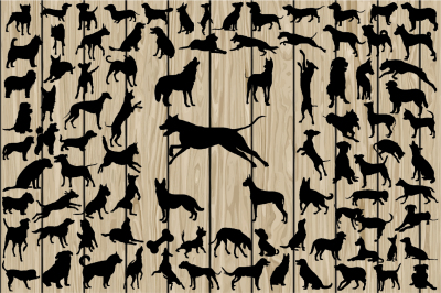 90 Dog SVG, Dog Silhouette Clipart, Dog Vector, Breed, Vinyl.