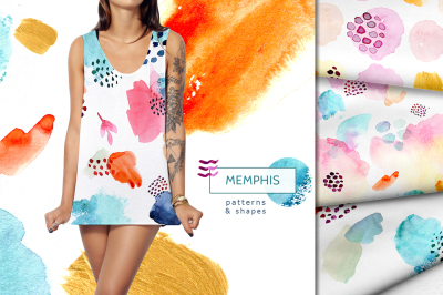 Memphis  watercolor patterns and shapes