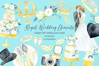 Watercolor clipart royal wedding icons