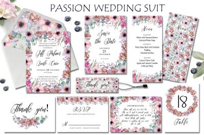 Passion flowers Wedding Suit