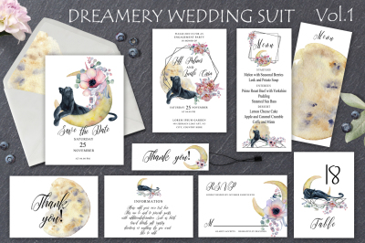 Dreamery Wedding Suit with Panthers, flowers and moons Vol.1