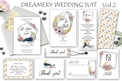 Dreamery Wedding Suit with Panthers, flowers and moons Vol.2