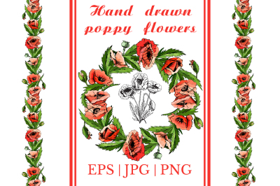 Bundle with sketches of poppy flowers. Modern and retro style.