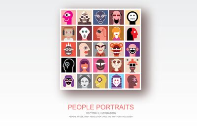 People Portraits vector flat style pop art collage