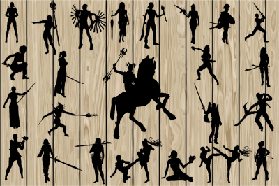 24 Woman Warrior SVG, Woman Warrior Silhouette Clipart, Cutting file.