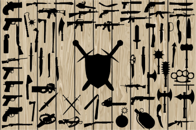70 Weapon SVG, Weapon Silhouette Clipart, Cutting File, Printable.
