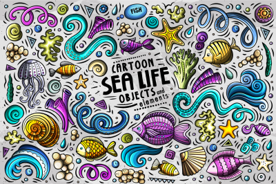Sea Life Cartoon Objects Set