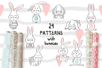 24 Childrens seamless patterns.