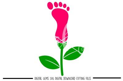 Flower footprint SVG / DXF / EPS / PNG files