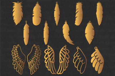 Feather Earring SVG, Wing Earring SVG,Tear Drop svg, Pendant svg .