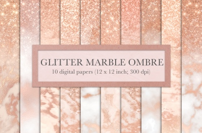 Rose gold glitter marble ombre