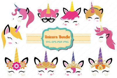 unicorn bundle, Unicorn svg, unicorn face cut files, licorne, einhorn