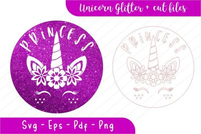 Unicorn svg, unicorn princess, unicorn glitter, stamp