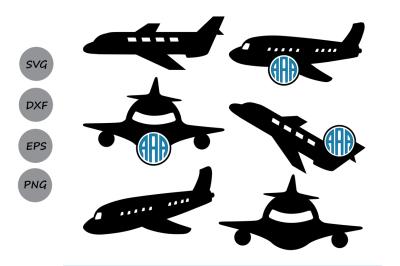 Airplane Svg, Monogram frame cut Files, Plane Silhouette