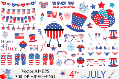 4th of July Clipart / USA Independence Day vector graphics