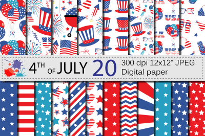 4th of July Digital Paper / USA Independence Day patriotic backgrounds
