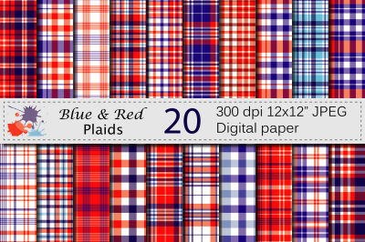 Blue and Red USA 4th of July Patriotic Plaid Digital Paper Pack