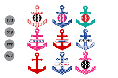 Anchor SVG, Anchor Monogram SVG, Monogram Frames, Cut Files