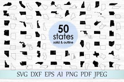 50 states SVG, DXF, EPS, AI, PDG, PNG, JPEG
