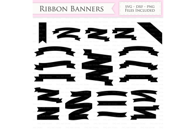 Ribbon Banners SVG - Text Banners Cut Files