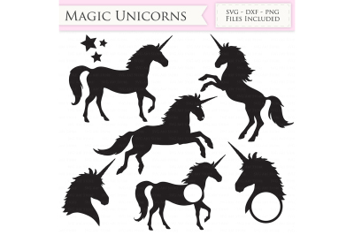 Magic Unicorns SVG Files - Unicorn Monogram Cut Files