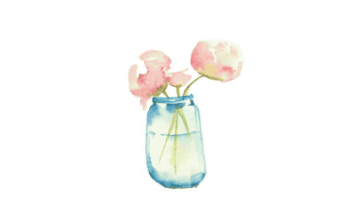 bouquet in a jar watercolor