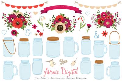 Red Christmas Floral Mason Jar Wedding Clipart