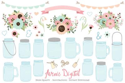 Pink and Mint Mason Jar Wedding Clipart