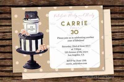 Elegant Cake Printable Invitation