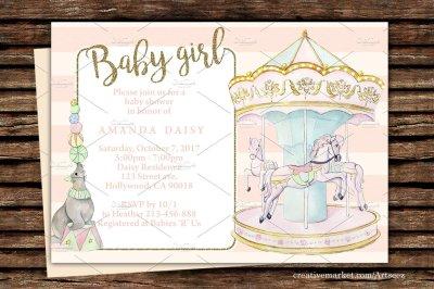 Circus Carousel Printable Invitation