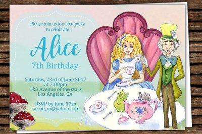 Alice in Wonderland Printable Invitation