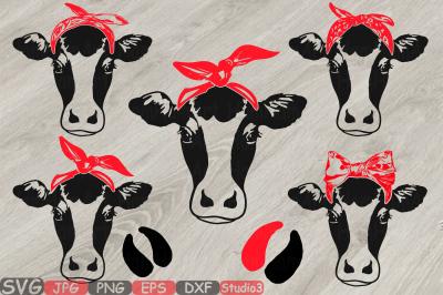 Cow Head whit Bandana Silhouette SVG cowboy western Farm Milk 811S