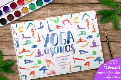 Watercolor Yoga Asanas