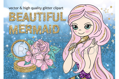BEAUTIFUL MERMAID Glitter Vector Illustration Set for Print