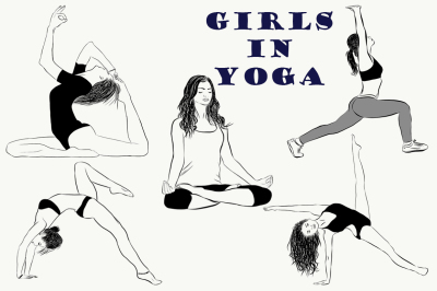 Yoga Poses Collection. Girls in practice