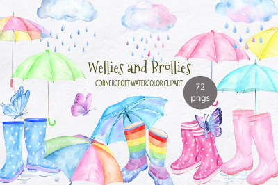 Watercolor Wellies and Brollies, Rain Boots, Umbrella