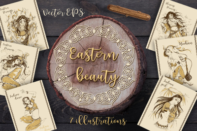 Eastern beauties. A set of postcards with magical Oriental princesses.
