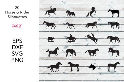 20 Horse Silhouettes-Vol 2