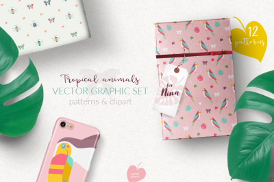 Tropical Animals Vector Graphic Set
