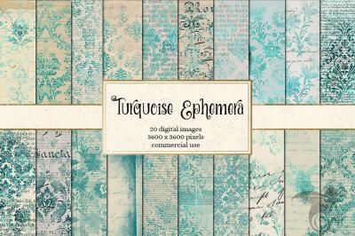 Turquoise Ephemera Digital Paper