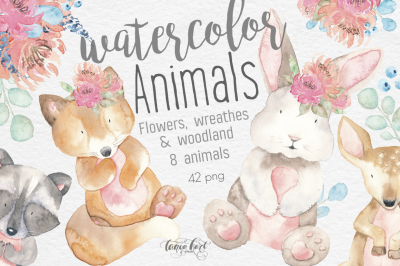 Watercolor Animals, Flowers Clipart