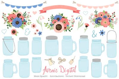 Coral and Navy Mason Jar Wedding Clipart