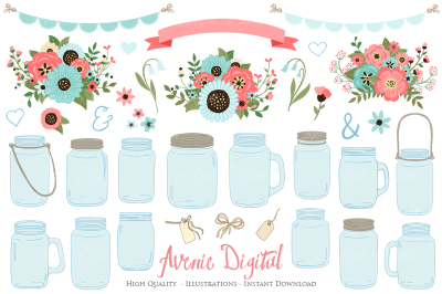 Coral and Turquoise Mason Jar Wedding Clipart