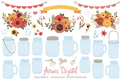 Fall Mason Jar Wedding Clipart